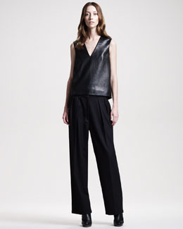 THE ROW Stretch-Leather Top & Wide-Leg Flannel Pants