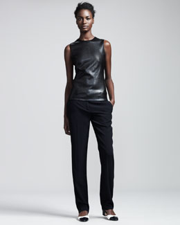 THE ROW Stretch-Leather Sleeveless Top & Slim Crepe-Back Satin Pants