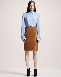THE ROW Twill Blouse & Back-Zip Leather Skirt