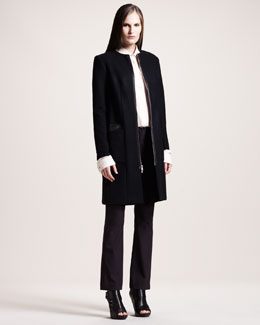 THE ROW Felted Melton Coat, Twill Blouse & Techno Stretch-Cotton Pants