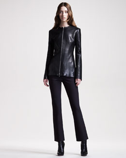 THE ROW Leather Jacket & Techno Stretch-Cotton Pants