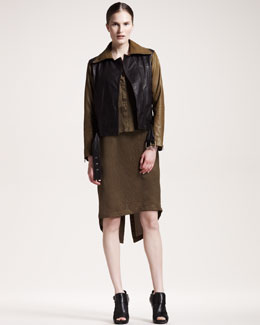 10 Crosby Derek Lam Belted Leather Jacket & Jacquard Tank Dress