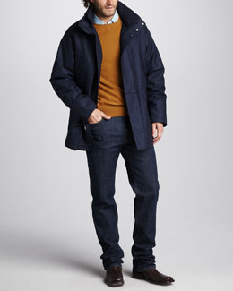 Loro Piana Check-Lined Drawstring Jacket, Cashmere Crewneck Sweater, Lightweight Denim Shirt & Blue Jeans