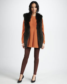 Vince Fox Fur Vest, Oversized Silk Shirt & Suede Leggings