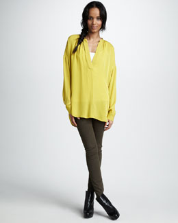 Vince Shirred V-Neck Silk Shirt & Five-Pocket Skinny Jeans
