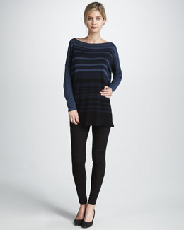 Vince Sweater with Variegated Stripes & Suede Leggings