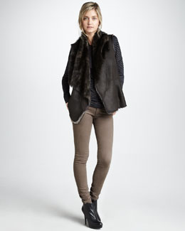 Vince Shearling Drape Vest, Stripe Boat-Neck Sweater & Five-Pocket Skinny Pants