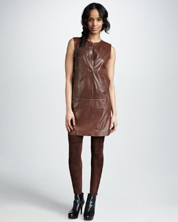 Vince Leather Shirttail Dress & Suede Leggings
