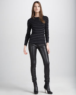 Vince Ribbed V-Neck Top & Motorcross Leather Pants