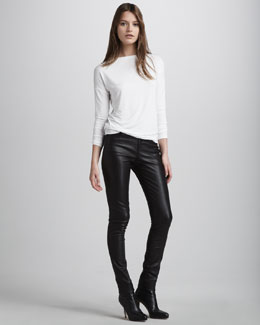 Vince Boat-Neck Long-Sleeve Tee & Motocross Leather Pants