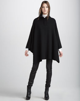 Vince Zip-Shoulder Poncho, Favorite Turtleneck & Motorcross Leather Pants