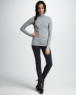 Vince Favorite Turtleneck & Herringbone Five-Pocket Skinny Pants