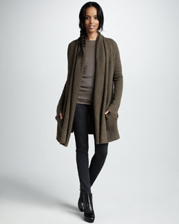 Vince Long-Sleeve Ribbed Crewneck Top, Herringbone Five-Pocket Skinny Pants & Scarf-Collar Carcoat