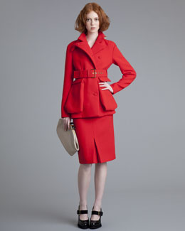 Marni Belted Crepe Jacket & Reverse-Pleat Skirt