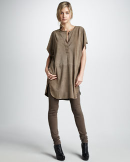 Vince Suede Half-Placket Tunic & Five-Pocket Skinny Pants