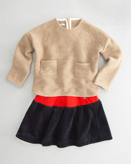 Marni Oz Sweater & High-Waist Pleated Skirt