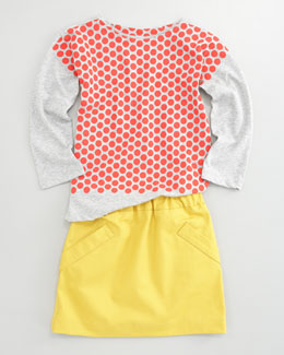 Marni Faux-Layered Dot Tee & Gabardine A-Line Skirt
