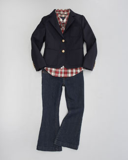 Ralph Lauren Childrenswear Doeskin Blazer, Tartan Puff-Sleeve Blouse & Heaton Flared Jeans
