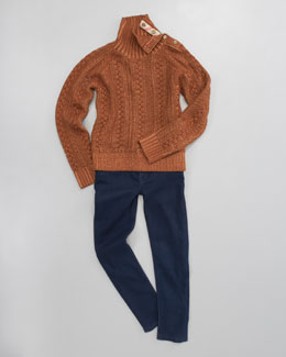 Burberry Cable-Knit Sweater & Denim Leggings