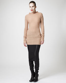 Rick Owens Long Leather-Sleeve Coat & Ribbed Mock-Neck Sweater