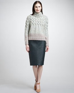 Chloe Chunky Turtleneck Sweater & Quilted Leather Skirt
