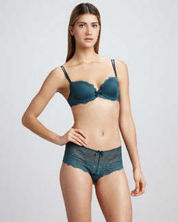 Chantelle Rive Gauche T-Shirt Bra & Lace Shorty, Green