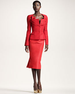 Zac Posen Faille Origami-Neck Jacket & Skirt