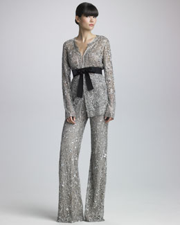 Naeem Khan Sequined Belted Jacket & Wide-Leg Pants