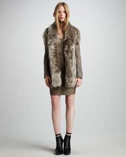Skaist Taylor Fur Tie Shrug, Back-Tie Cardigan & Leather Pencil Skirt