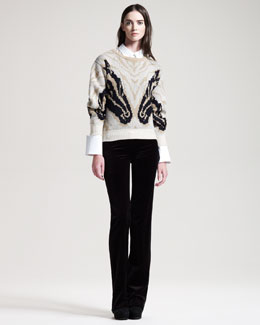 Altuzarra Naples Intarsia Sweater, Rajiv Long Poplin Shirt & Redwood Velvet Pants