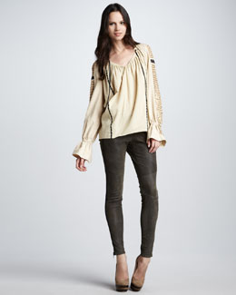 Skaist Taylor Sequin-Sleeve Top & Washed-Leather Skinny Pants