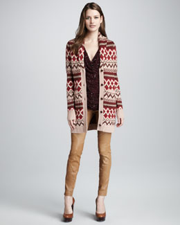 Haute Hippie Fair Isle Sweatercoat, Sequined Top & Leather Pants