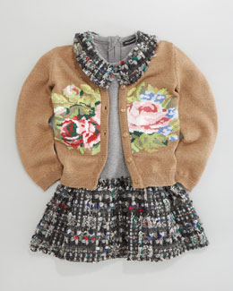 Dolce & Gabbana Floral Intarsia Cardigan & Drop-Waist Dress