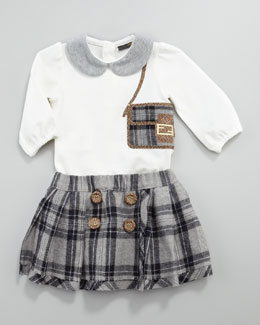 Fendi Baguette Shirt & Plaid Skirt