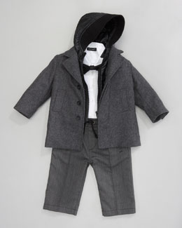 Dolce & Gabbana Hooded Dress Coat, Shirt, Pants & Bow Tie