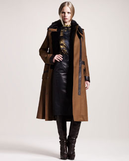 Belstaff Hayle Shearling-Collar Officer's Coat, Pembury  Printed Devore Blouse & Brackley Double-Zip Leather Skirt