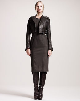 Belstaff Helston Cropped Biker Jacket & Camborne Stretch-Flannel Dress