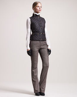 Belstaff Weskit Quilted Vest, Ascot Georgette Blouse & Derby Stretch-Tweed Pants