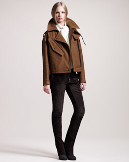 Belstaff Strafford Cropped Raglan Jacket, Ascot Georgette Blouse & Mayfield Suede Roadster Pants