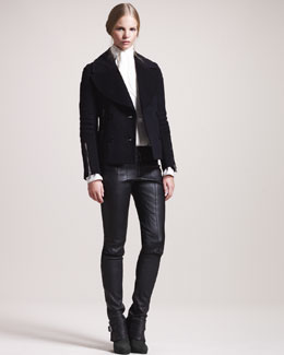 Belstaff Dallington Cropped Pea Coat & Ledbury Leather Roadster Pants