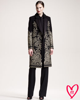 Etro BG 111th Anniversary Embroidered Coat, Tie-Neck Blouse & Heavy Jersey Pants