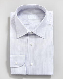 Ermenegildo Zegna Paisley Check Tie & Striped Dress Shirt
