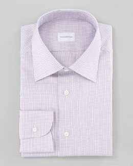 Ermenegildo Zegna Check Dress Shirt & Micro-Dot Tie, Purple