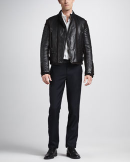 Lanvin Leather Motorcycle Jacket, Dress Shirt & Grosgrain-Waist Pants