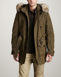 Belstaff Fur-Trim Parka, Hidden-Placket Poplin Shirt & V-Neck Ribbed Sweater
