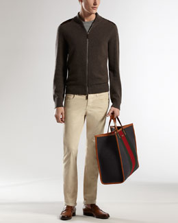 Gucci Suede-Detail Knit Jacket & Five-Pocket Skinny Cords