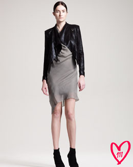 Helmut Lang BG 111th Anniversary Gleaming Suede Jacket & Crushed Organza Drape Dress