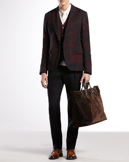 Gucci Sketch-Print Flannel Dandy Jacket, Ribbed Cashmere Cardigan Flannel-Weave 60s Skinny Pants