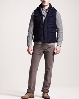 Brunello Cucinelli Hooded Puffer Vest, Shawl-Collar Sweater, Check Button-Down Shirt & Five-Pocket Pants