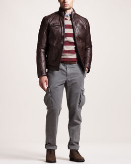 Brunello Cucinelli Rugby-Stripe Sweater, Oxford Shirt & Basic Cargo Pants